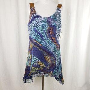 Mark and James Silk Abstract Hi Lo Tunic Dress